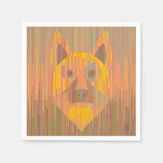Serviettes Jetables Serviettes sérieuses colorées de chien jaune
