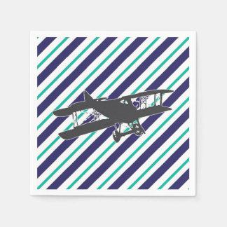 Serviettes Jetables Serviettes vintages d'avion de biplan de turquoise