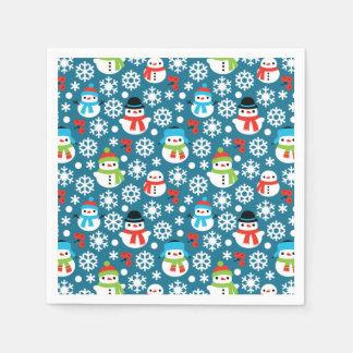 Serviettes Jetables Snowmans et motif sans couture de flocons de neige
