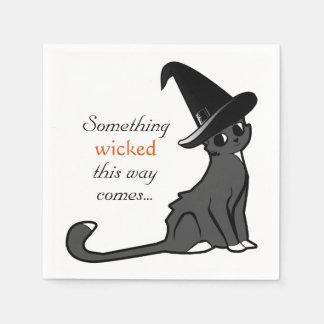 Serviettes Jetables Sorcière de chat de Halloween - serviettes