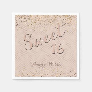 Serviettes Jetables Sweet sixteen des chevrons   d'or de rose de rose