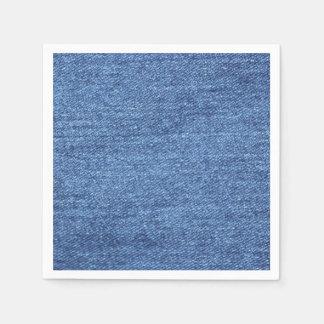 Serviettes Jetables Texture blanche bleue de regard de denim
