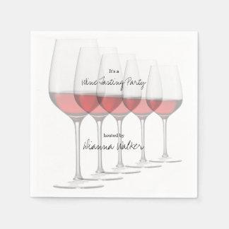 Serviettes Jetables Verres grands élégants de vin rouge
