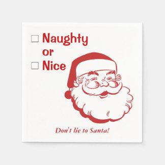 Serviettes Jetables Vilain ou Nice ne mentez pas à Noël du père noël
