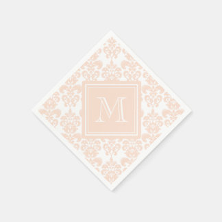 Serviettes Jetables Votre monogramme, motif rose 2 de damassé de chair