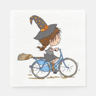 Serviettes Jetables Witch in bike - napkin