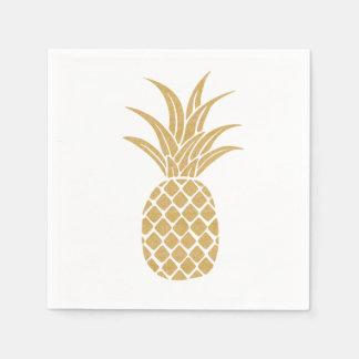 Serviettes majestueuses d'ananas d'or serviette en papier