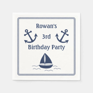 Serviettes nautiques de fête d'anniversaire serviettes en papier
