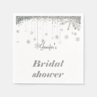 Serviettes nuptiales de douche de flocons de neige serviettes jetables