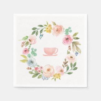 Serviettes nuptiales florales de thé de douche serviette jetable