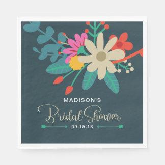 Serviettes nuptiales florales lunatiques de douche serviette en papier