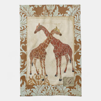 Serviettes oranges de fleur de girafes serviettes éponge