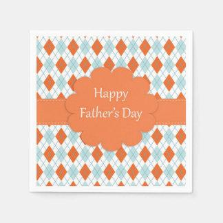 Serviettes oranges et bleues de fête des pères serviettes jetables