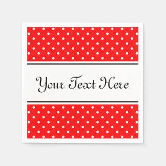 Serviettes personnalisées pois rouge et blanc de | serviette en papier
