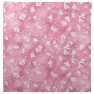 Serviettes rose-clair de tissu de Ginkgos et de