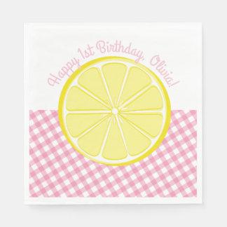Serviettes roses de partie de limonade serviette jetable