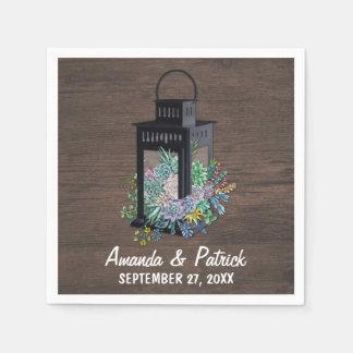 Serviettes rustiques de mariage de lanterne de serviette en papier