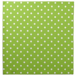 Serviettes vert pomme et blanches de motif de poin