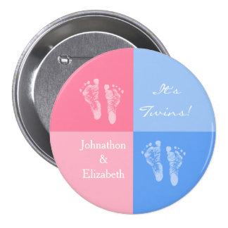 Ses empreintes de pas roses mignonnes jumelles de  badge rond 7,6 cm