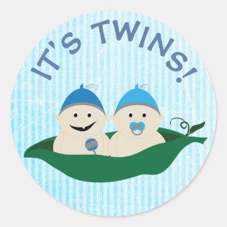 Ses jumeaux ! Garçons bleus dans l'autocollant de Sticker Rond