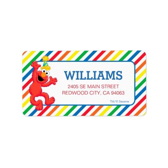 Sesame Street   Elmo - anniversaire d'arc-en-ciel Étiquette D'adresse