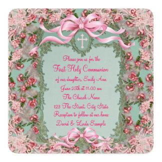 S'est levée la première communion carton d'invitation  13,33 cm