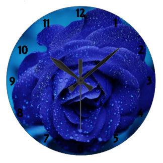 S'est levée l'horloge murale bleue grande horloge ronde