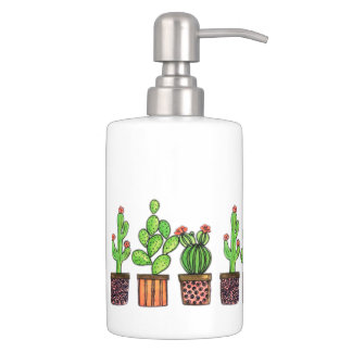 Set De Salle De Bain Cactus mignon d'aquarelle dans des pots