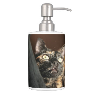 Set De Salle De Bain cat tortie soap plus dispender et tooth brush plus
