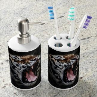 Set De Salle De Bain Distributeur de savon de tigre et support de