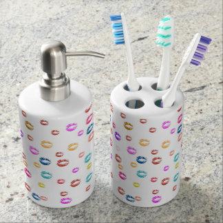 Set De Salle De Bain lot distributeur de savon et support brosse à dent