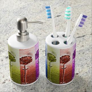 Set De Salle De Bain Support de brosse à dents de fleur et distributeur