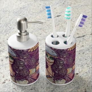 Set De Salle De Bain Support et verre de brosse à dents