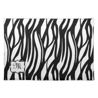 Set de table noir blanc génial de tissu de zèbre d