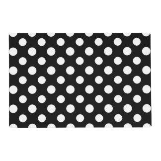Set de table noir et blanc de motif de point de set de table stratifié