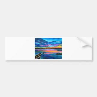 Seul gauche une peinture de bateau de paysage autocollant de voiture