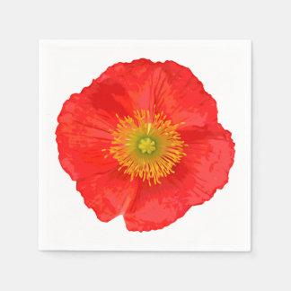 Seulement une fleur de pavot + votre texte et serviettes jetables