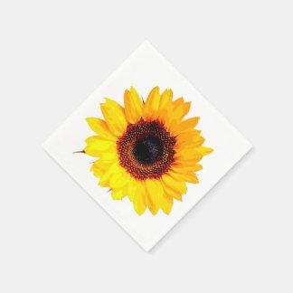 Seulement une fleur de tournesol + votre texte et serviettes jetables