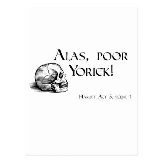 Shakespeare hélas Yorick pauvre Cartes Postales