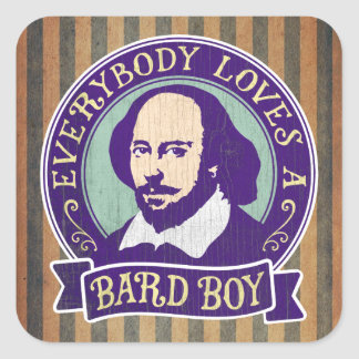 Shakespeare tout le monde aime un garçon de barde sticker carré