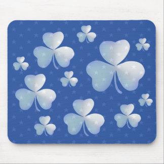 Shamrock bleu avec des étoiles - mousepad tapis de souris