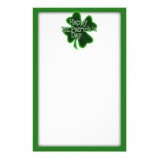 Shamrock heureux de jour de St Patricks Papier À Lettre Customisé