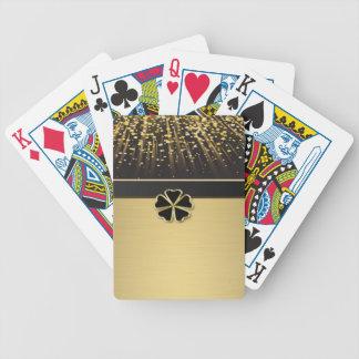 Shamrock irlandais élégant chic, confettis d'or de jeu de cartes