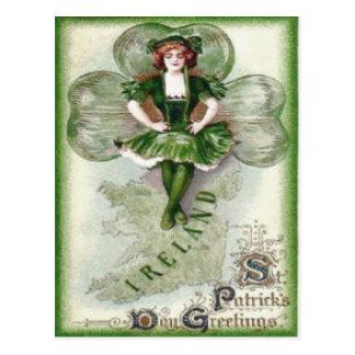 Shamrock irlandais Riverdance de l'Irlande de femm Carte Postale