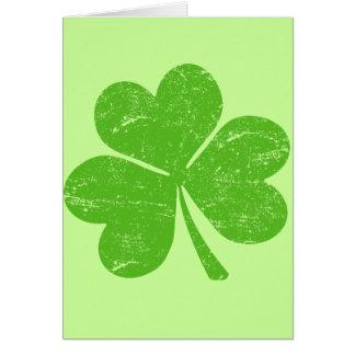 Shamrock irlandais vert carte de vœux
