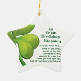 Shamrock vert de bénédictions irlandaises, ornement étoile en céramique