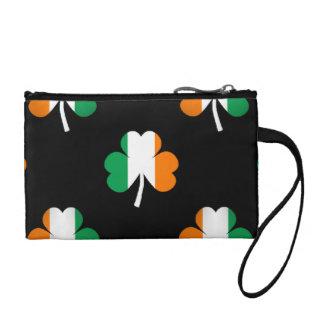 Shamrocks Drapeau-Verts/blancs/de couleur orange Porte-monnaie