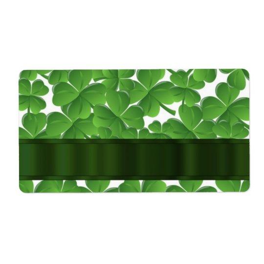 Shamrocks irlandais verts personnalisés étiquette d'expédition