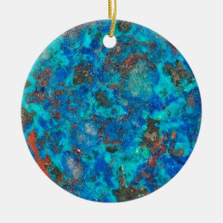 Shattuckite patterened par bleu ornement rond en céramique