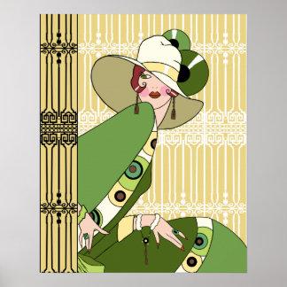 Shelby, Madame d'art déco des années 1920 en jaune Posters